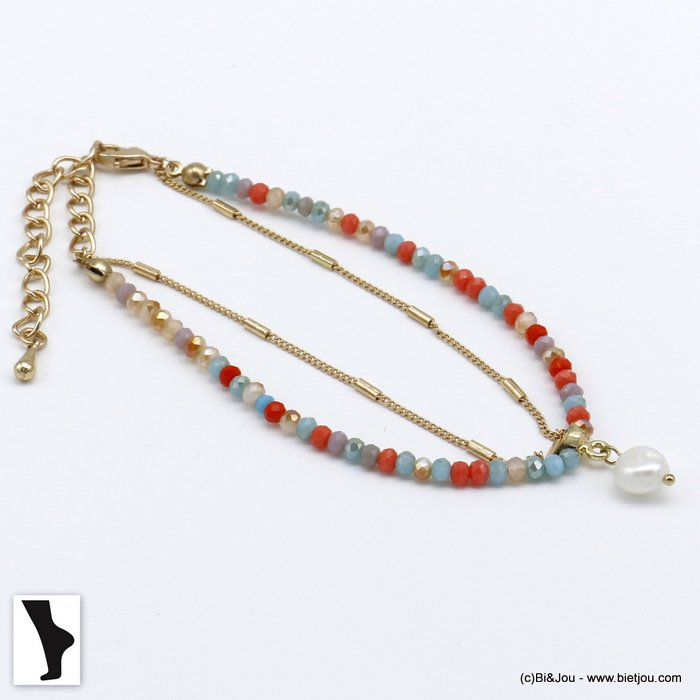 ankle chain 0220118-99 double row with crystal and shell pendant in metal woman
