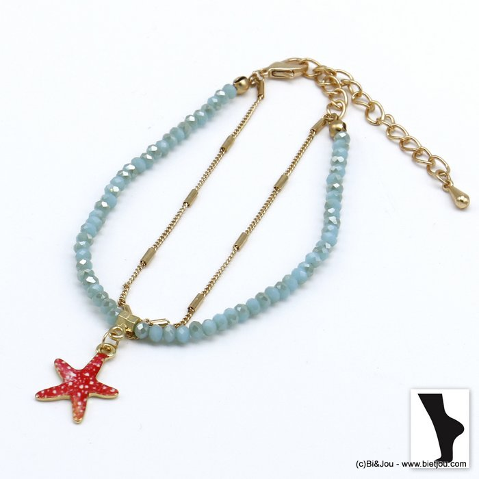 ankle chain 0220119-17 double row with crystal and starfish pendant in metal woman