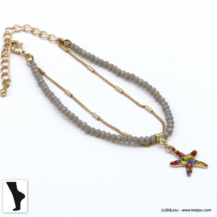 ankle chain 0220119-25 double row with crystal and starfish pendant in metal woman