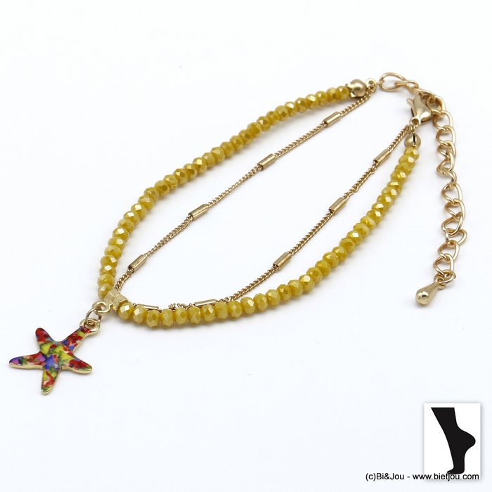 ankle chain 0220119-43 double row with crystal and starfish pendant in metal woman