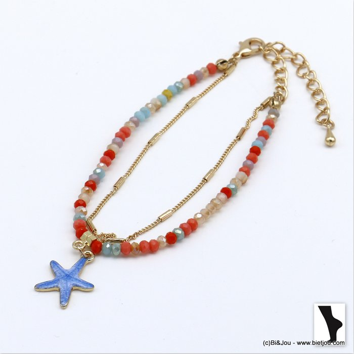 ankle chain 0220119-99 double row with crystal and starfish pendant in metal woman