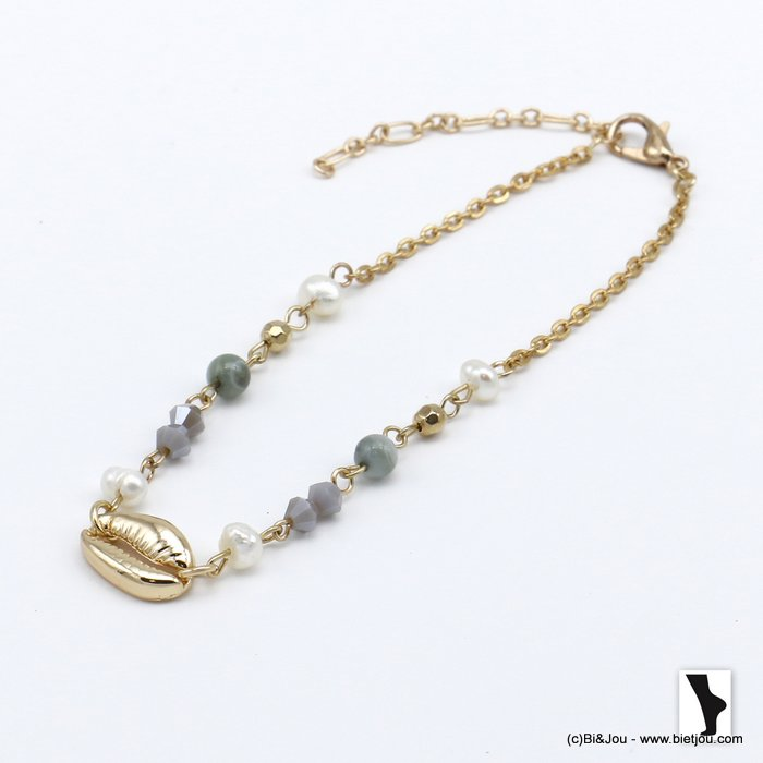 ankle chain 0220120-25 golden cowrie shell and crystal woman