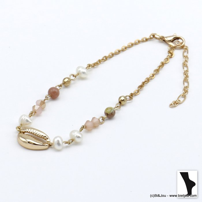 ankle chain 0220120-33 golden cowrie shell and crystal woman