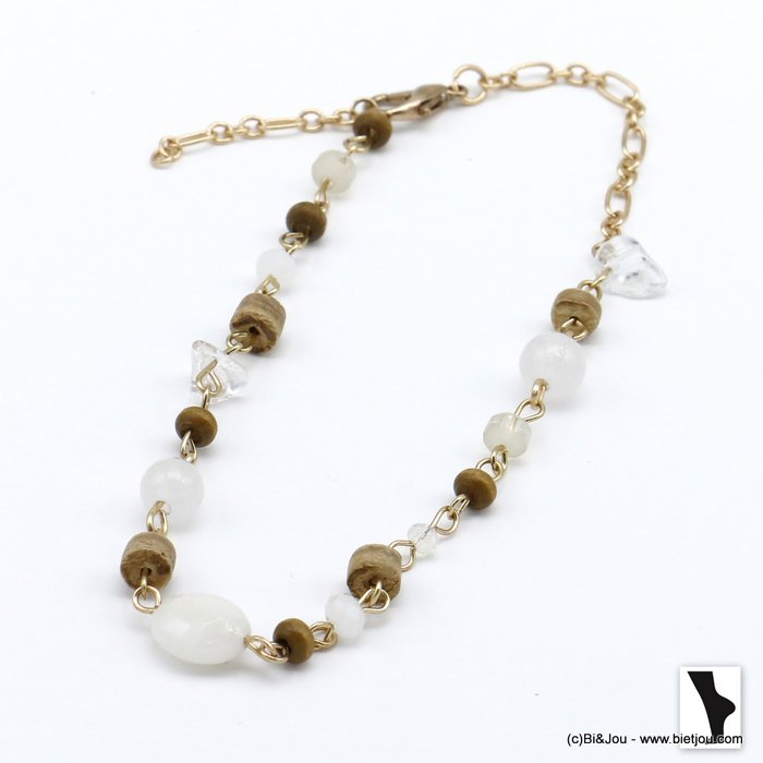 ankle chain 0220121-19 drop beads stone, coco and crystal woman