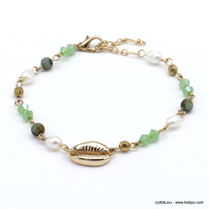 bracelet 0220122-07 golden cowrie shell and crystal woman