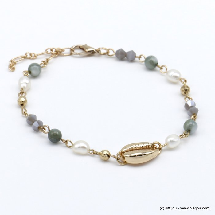 bracelet 0220122-25 golden cowrie shell and crystal woman