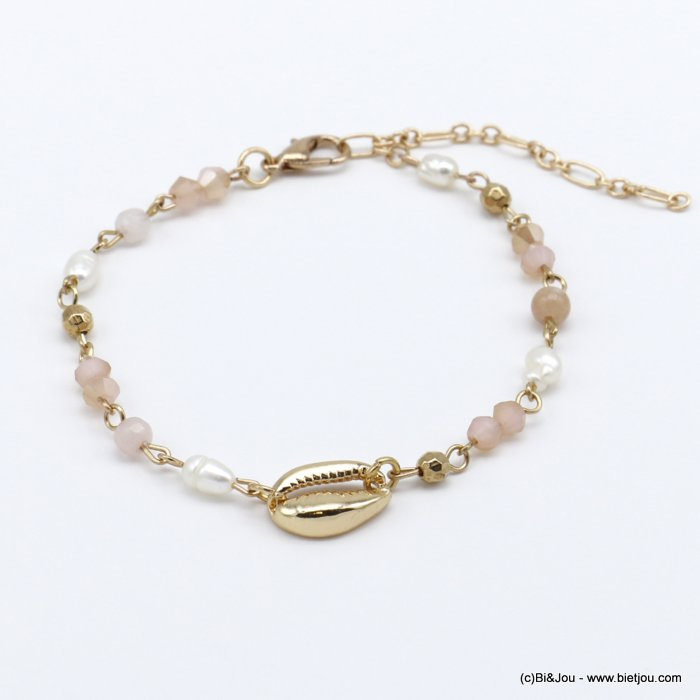 bracelet 0220122-33 golden cowrie shell and crystal woman