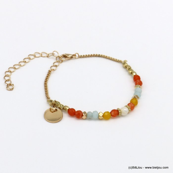 bracelet 0220133-36 beach metal drop bead stone natural pearl coloured crystal woman