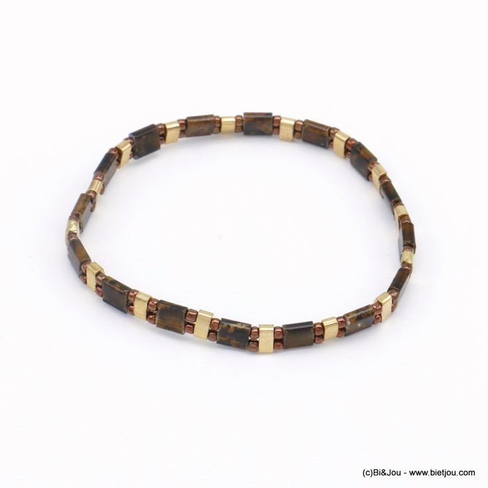bracelet 0220135-02 elastic pearls square miyuki tila and metal woman