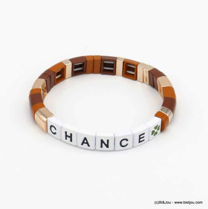 bracelet 0220138-02 elastic enamel square pearls with chance message