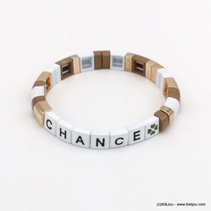 bracelet 0220138-06 elastic enamel square pearls with chance message