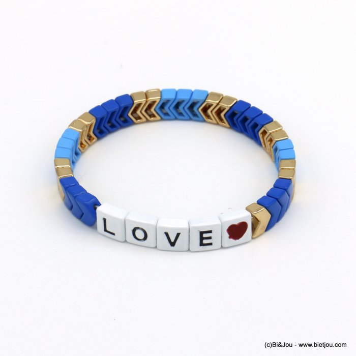 bracelet 0220139-09 elastic enamel square pearls with LOVE message
