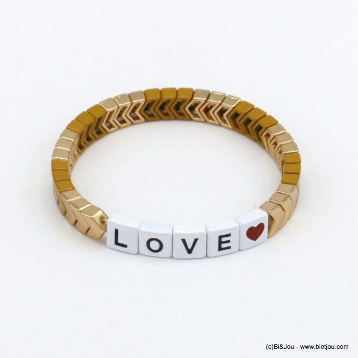 bracelet 0220139-14 elastic enamel square pearls with LOVE message