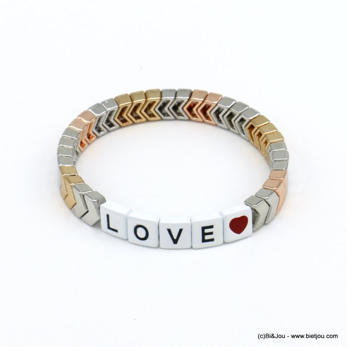 bracelet 0220139-97 elastic enamel square pearls with LOVE message