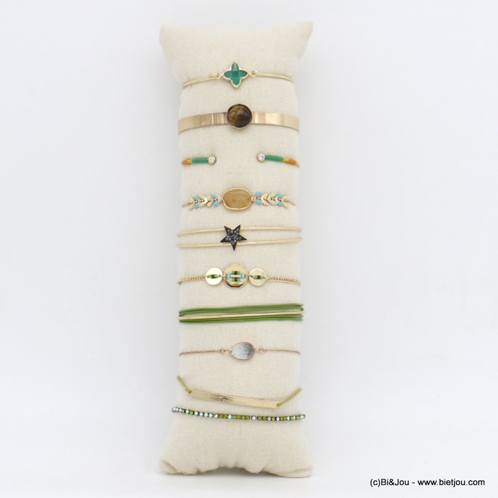 set of bracelets 0220149-99 10 pieces green shade with shell strass star and enamel in metal woman
