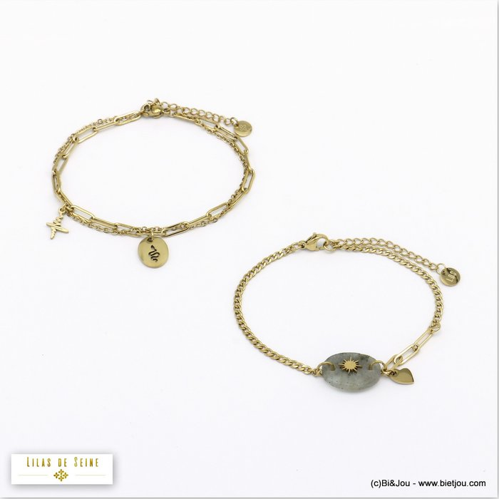 bracelet 0220518-25 stacking steel snake heart beat star stone woman