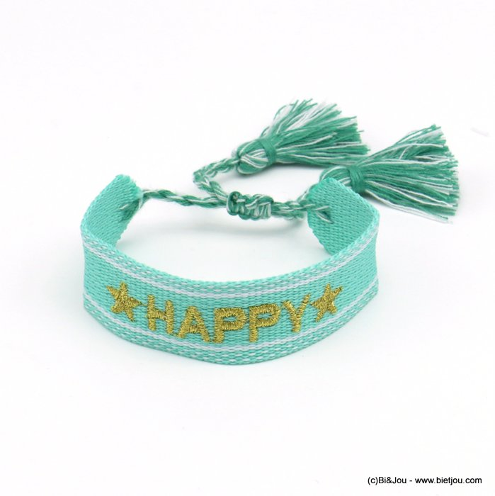 bracelet 0220520-17 adjustable braided polyester message HAPPY star macrame knot pompom 20mm