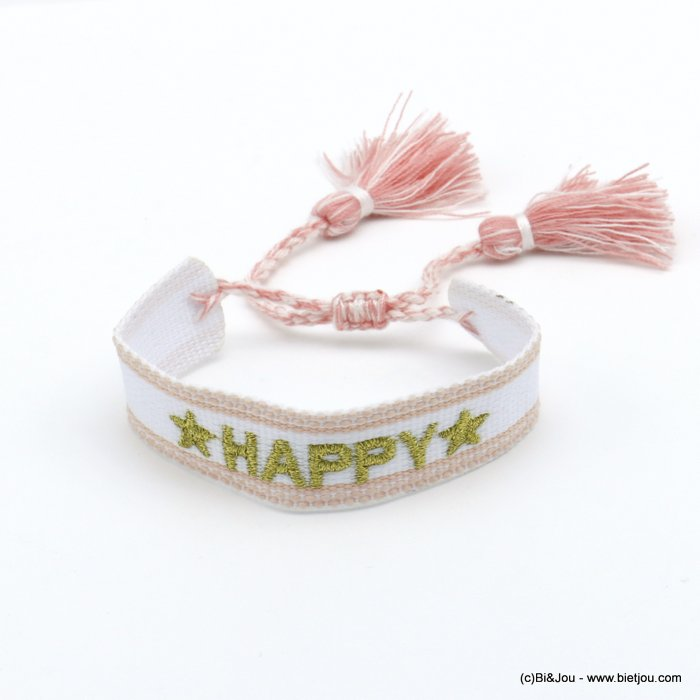 bracelet 0220520-33 adjustable braided polyester message HAPPY star macrame knot pompom 20mm