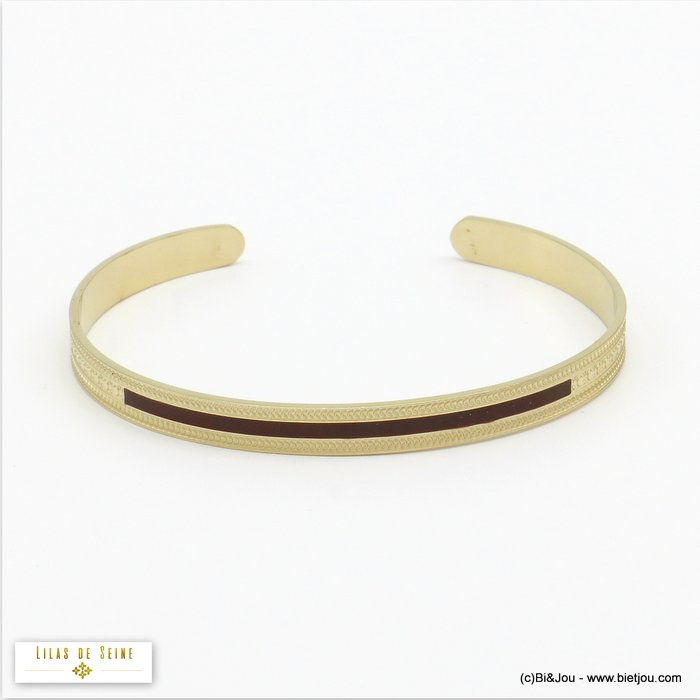 bracelet 0220525-10 open bangle stainless steel enamel woman 5x60mm