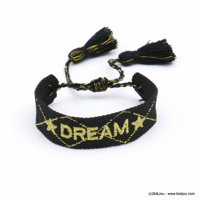 bracelet 0220533-01 adjustable braided polyester message DREAM star macrame knot pompom 20mm
