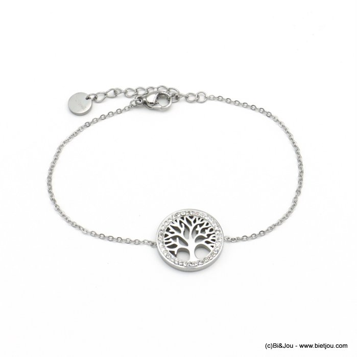 bracelet 0220563-13 tree of life stainless steel strass