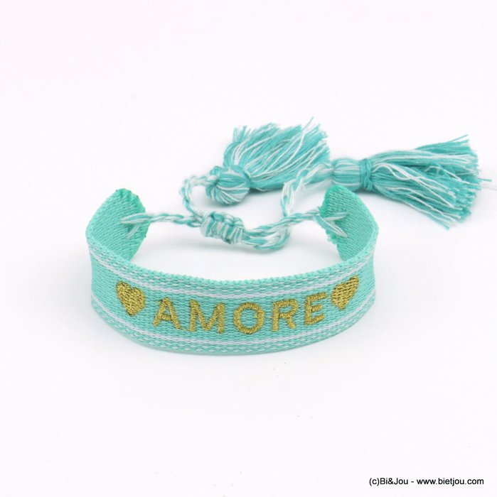 bracelet 0220566-17 adjustable braided polyester message AMORE heart macrame knot pompom 20mm