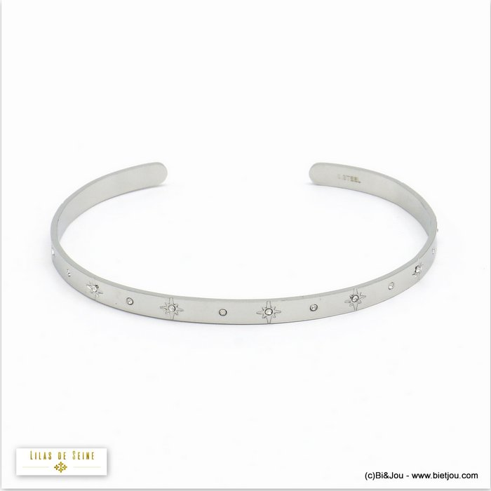 bracelet 0220568-13 star open bangle stainless steel strass woman 4x60mm