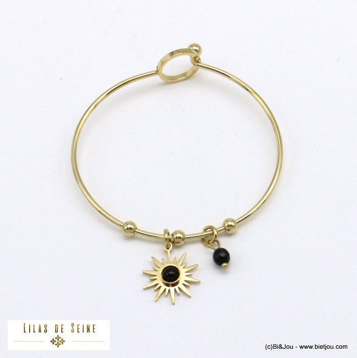 bracelet 0221008-01 sun bangle stainless natural stonesteel hook clasp woman
