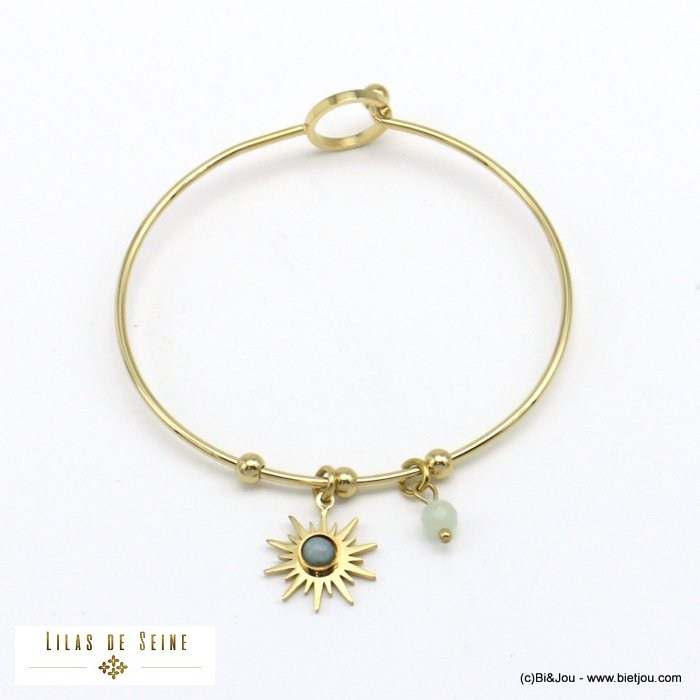 bracelet 0221008-07 sun bangle stainless natural stonesteel hook clasp woman