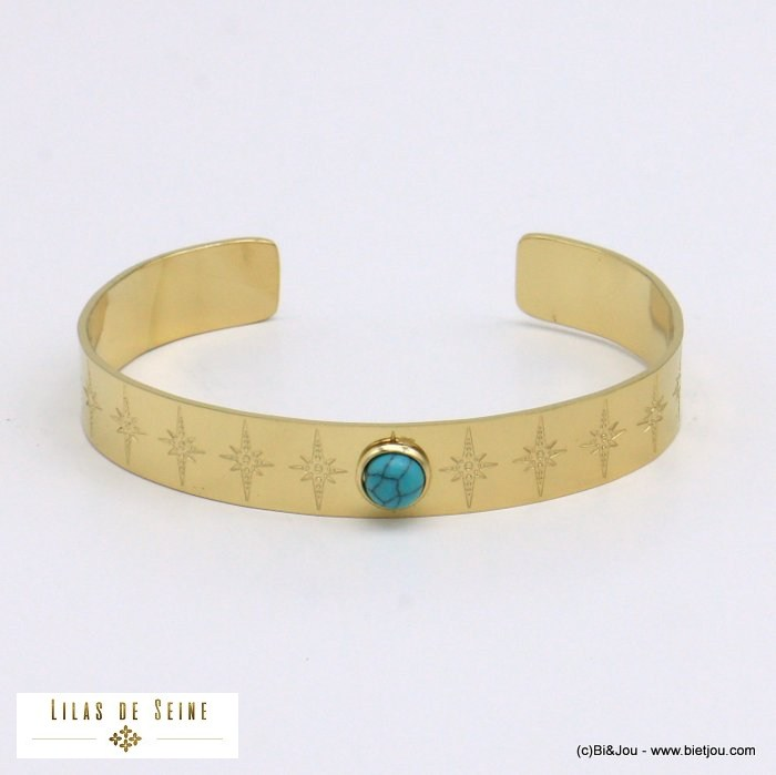 bracelet 0221009-17 open bangle round natural stone stainless steel north star woman size 10x60mm