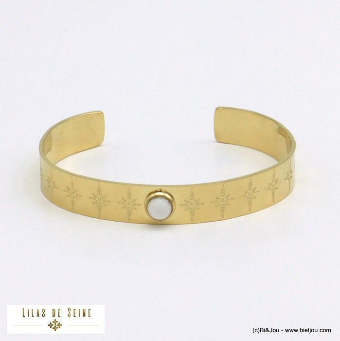 bracelet 0221009-19 open bangle round natural stone stainless steel north star woman size 10x60mm