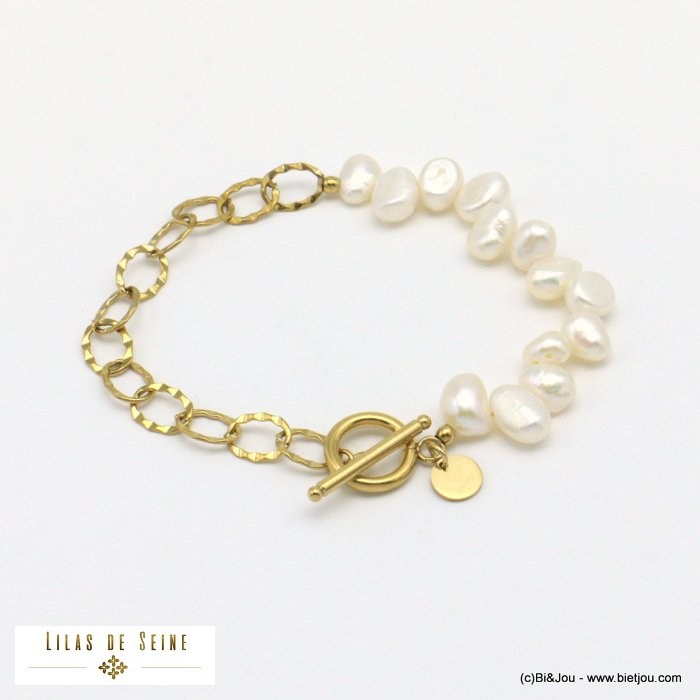 bracelet 0221012-14 freshwater pearls toogle clasp stainless steel woman