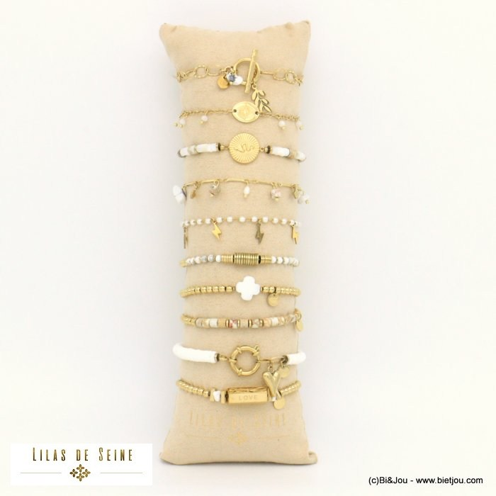 set of bracelets 0221015-19 10 pieces star heart lightning ginkgo leaf snake clover LOVE LIFE stainless steel stone shell acryli