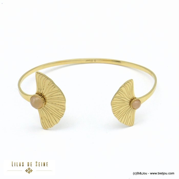 bracelet 0221016-18 open bangle ginkgo leaf stainless steel natural stone woman 22mm