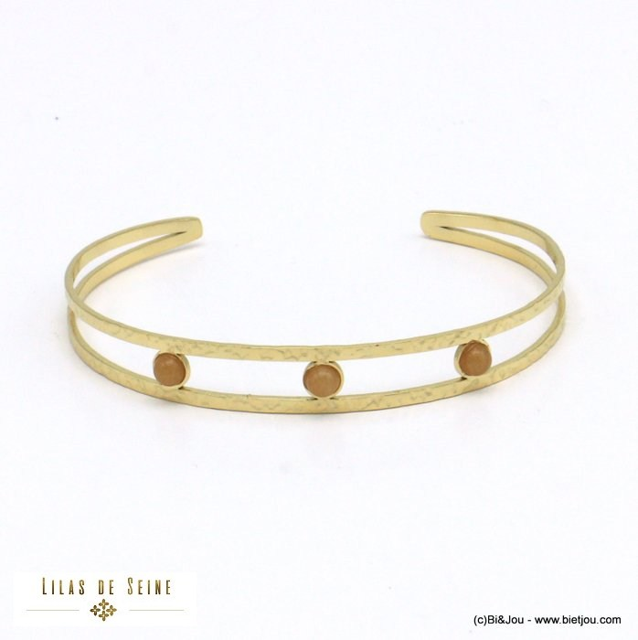 bracelet 0221020-02 open bangle stainless steel natural stone woman 9mm
