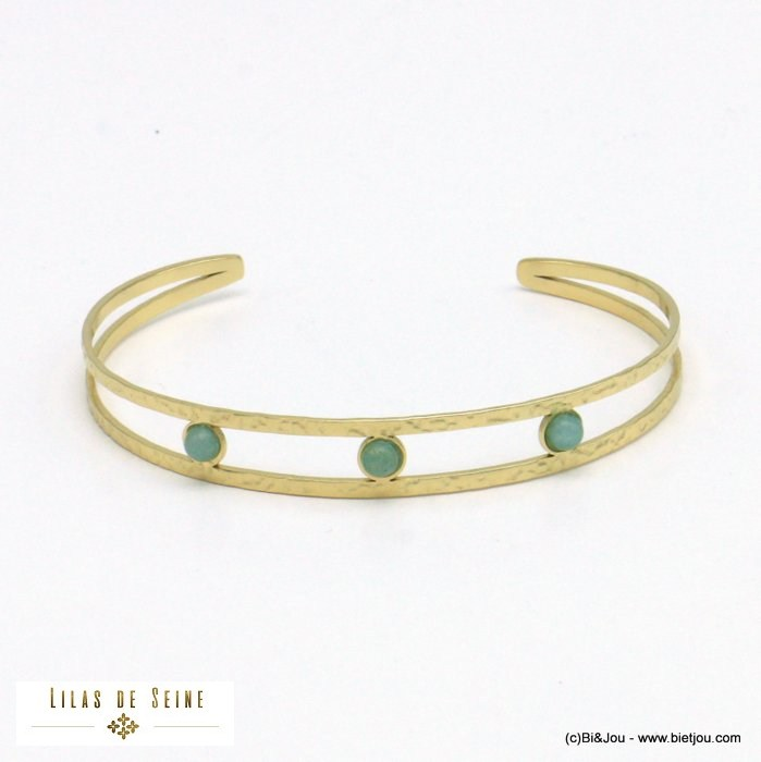 bracelet 0221020-07 open bangle stainless steel natural stone woman 9mm