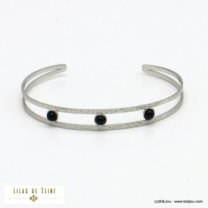bracelet 0221020-13 open bangle stainless steel natural stone woman 9mm