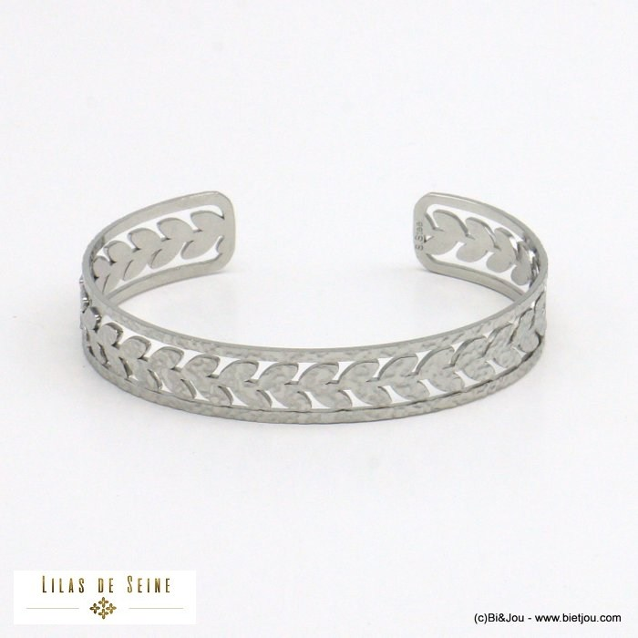 bracelet 0221022-13 leaf hammered open bangle stainless steel woman 16x60mm