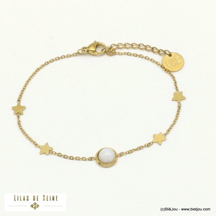 bracelet 0221025-19 star natural stone stainless steel woman