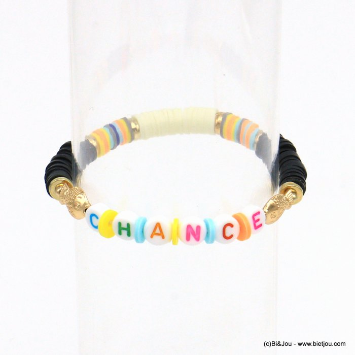 "bracelet 0221053-01 ""CHANCE"" fish elastic surfer Heishi beads polymer-CCB-pearl-metal"