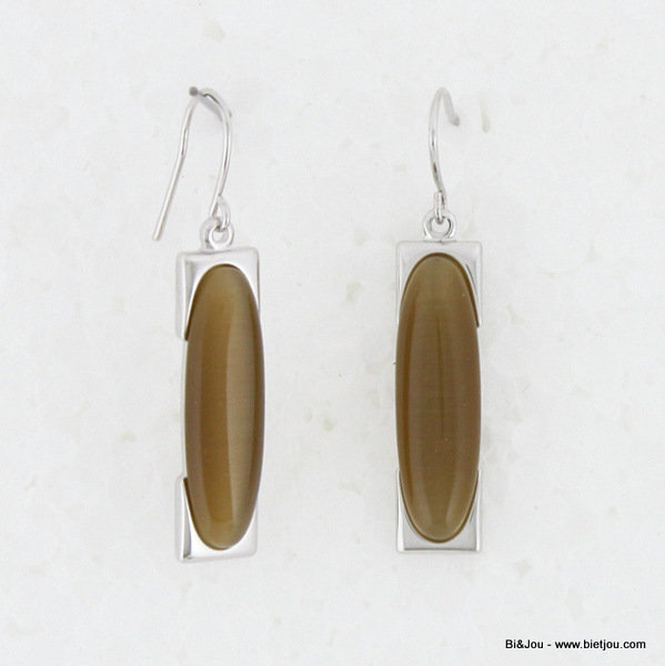 "earrings 0313502-02 ""cat's eye"" 8x30mm metal-glass"