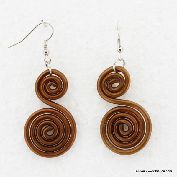 earrings 0313562-02 25x60mm metal-silicone