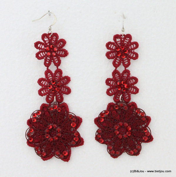 earrings 0314533-10 lace 4x8cm polyester-strass-metal