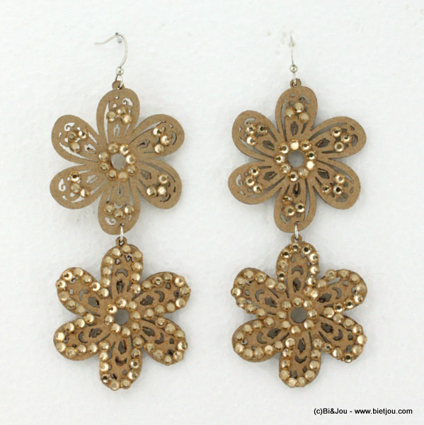 earrings 0314534-06 flower 4x8cm suede-strass-metal
