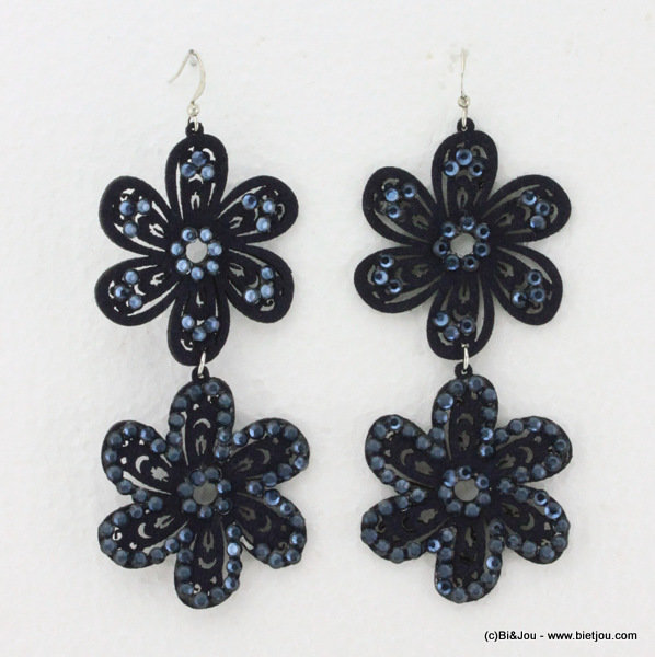 earrings 0314534-09 flower 4x8cm suede-strass-metal