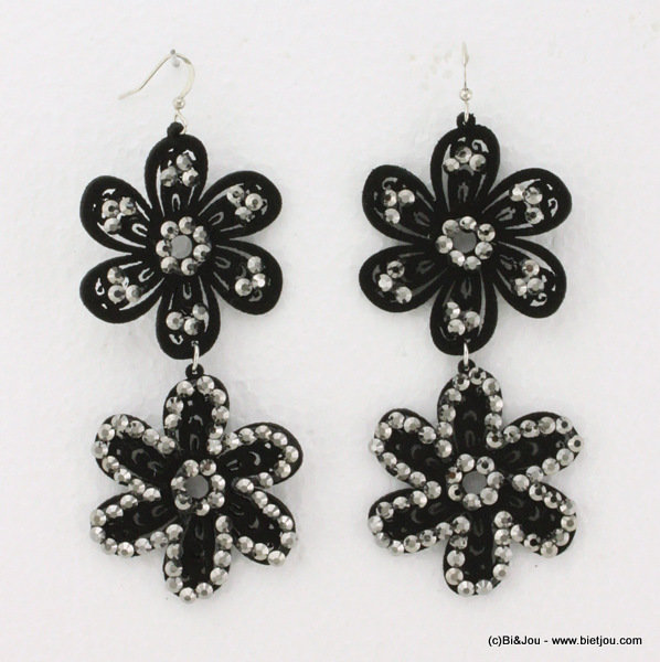 earrings 0314534-20 flower 4x8cm suede-strass-metal