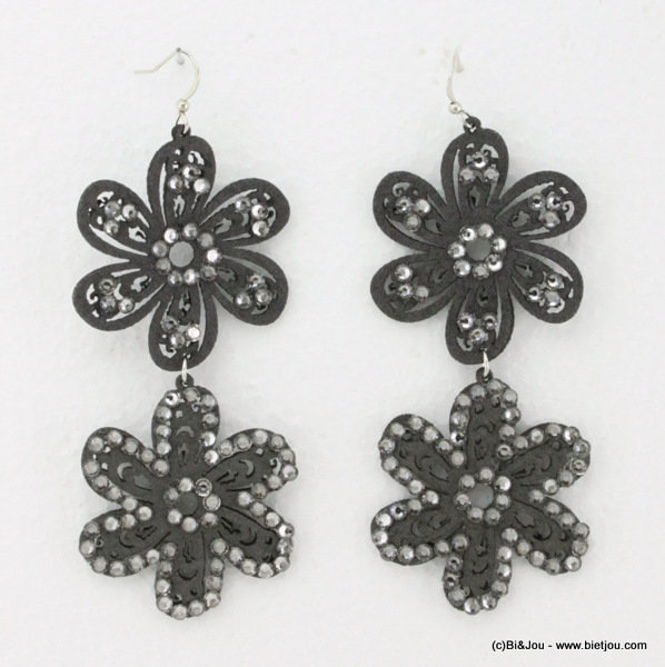 earrings 0314534-26 flower 4x8cm suede-strass-metal