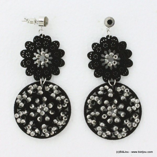 earrings 0314535-20 nail head 4x8cm suede-strass-metal