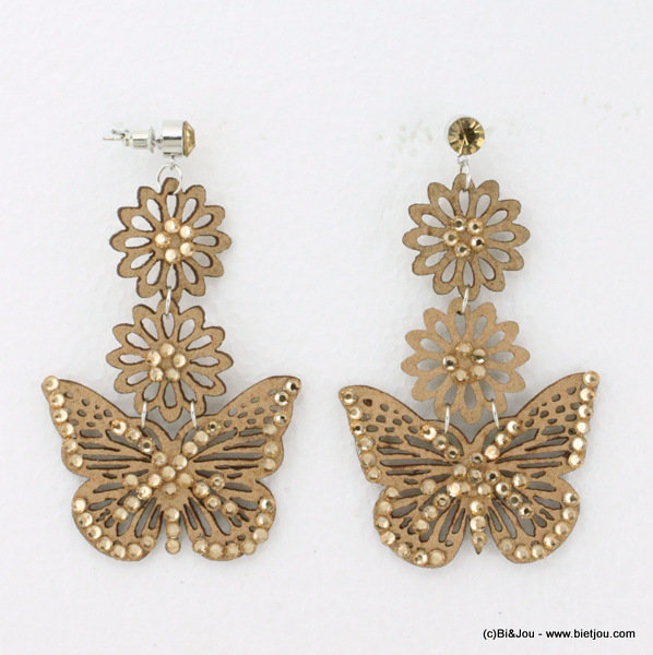 earrings 0314538-06 butterfly nail head 50x75mm suede-strass-met