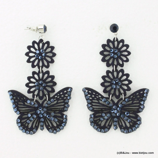 earrings 0314538-09 butterfly nail head 50x75mm suede-strass-met